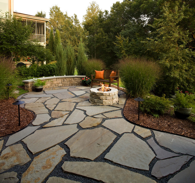Flagstone Patio and Natural Stone Fire Pit - Traditional - Patio .