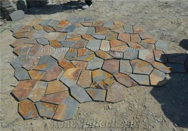 Hot Sale High Quality Rusty Slate Irregular Shape Flagstone Pavers .