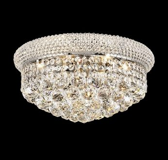 "Elegant 1800F16C-RC Primo Chrome 16"" Crystal Flush Mount Ceiling ."