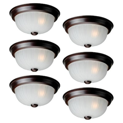 Project Source 6-Pack 10-in Bronze Traditional Flush Mount Light .