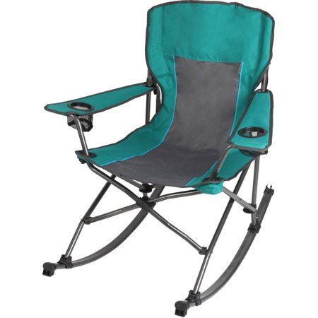 Ozark Trail Quad Fold Rocking Camp Chair with Cup Holders, Green .