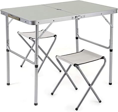 Amazon.com : Sunkorto 2-Person Folding Picnic Table with 2 Stools .