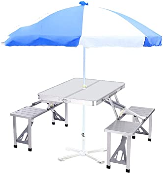 Amazon.com: Folding Table 4 Person Aluminum Portable Folding .