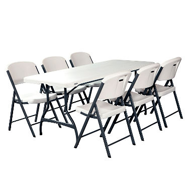 Lifetime Combo - 6' Commercial Grade Folding Table and (6) Folding .