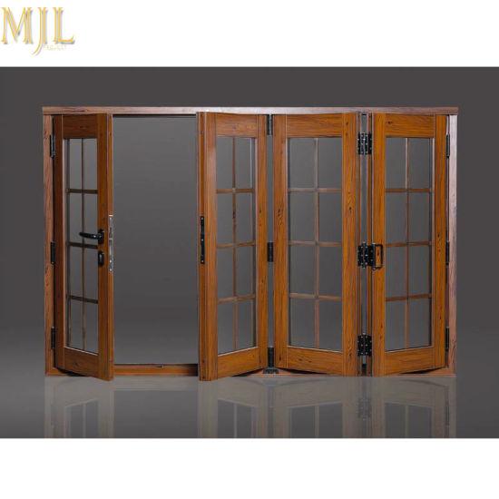 China Customized Aluminum Wooden Exterior Bifold Glass Folding .