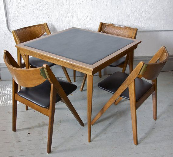 Gorgeous Folding Card Table And Chairs Vintage Mid Century Modern .