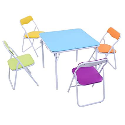 Amazon.com: GSV Store Kids 5 Piece Folding Table Chair Set .