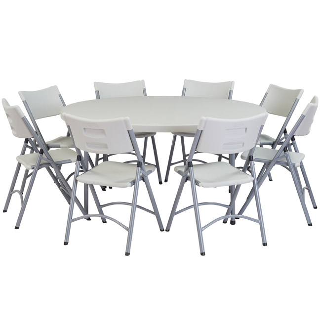 "National Plastic Folding Table & Chair Set- 60"" Round Folding ."
