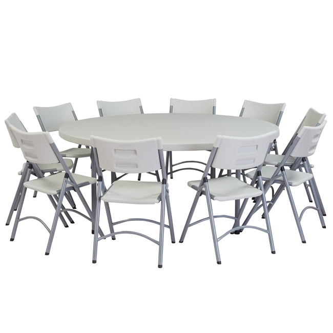 "National Plastic Folding Table & Chair Set- 71"" Round Folding ."