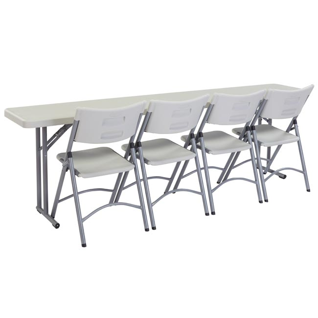 "National Plastic Folding Table & Chair Set- 18"" X 96"" Seminar ."