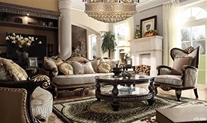 Amazon.com: Bulgaria Black Wood Trim Sofa & Loveseat & Chair Set .