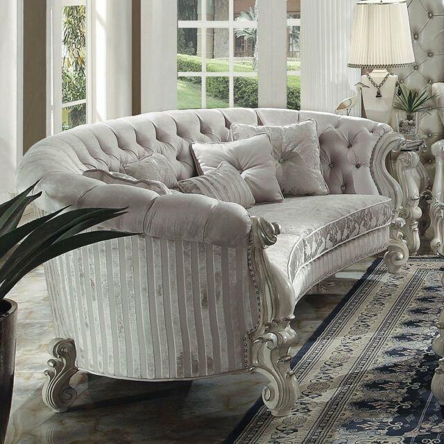 Formal Living Room Furniture Sofa & Chair Set White Finish Fabric .