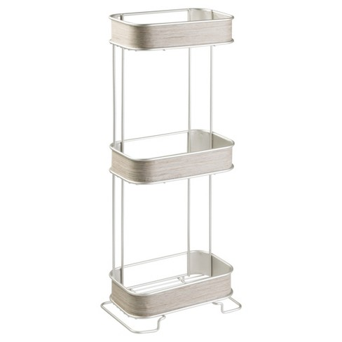 RealWood Free Standing Bathroom Storage Shelves 3 Tiers Satin/Gray .