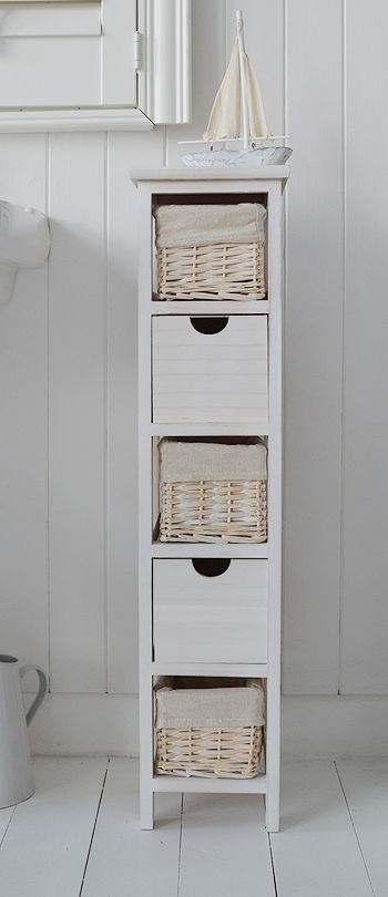 Tall narrow 20 cm bathroom freestanding cabinet with baskets and .
