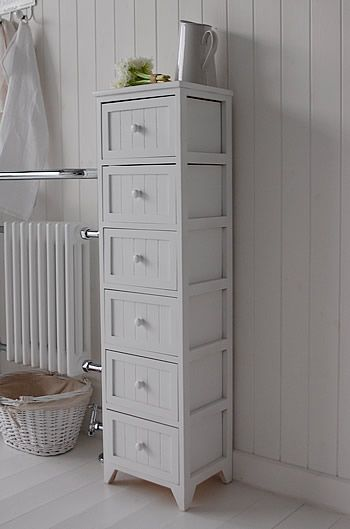 Maine Narrow tall Freestanding Bathroom Cabinet with 6 drawers for .