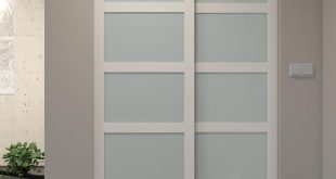 Colonial Elegance® White Framed 5-Lite Frosted Glass Sliding Door .