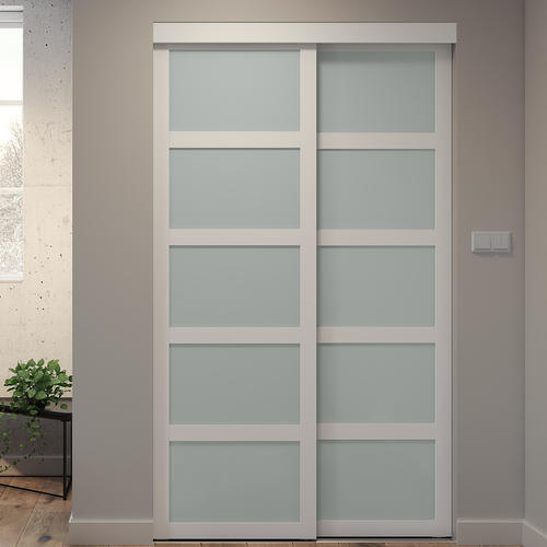 Colonial Elegance® White Framed 5-Lite Frosted Glass Sliding Door .