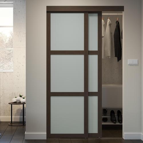 Colonial Elegance® Mocha Framed 3-Lite Frosted Glass Sliding Door .