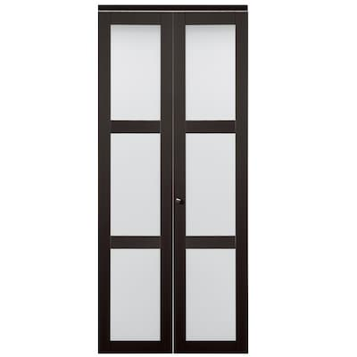 ReliaBilt 24-in x 80-in Espresso 3-Lite Tempered Frosted Glass .