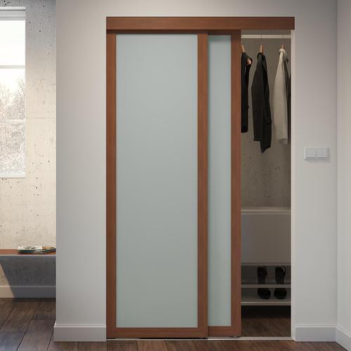 Colonial Elegance® Gunstock Framed 1-Panel Frosted Glass Sliding .