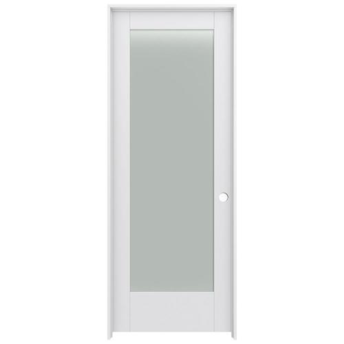 JELD-WEN MODA 1011 Primed 1-panel Square Solid Core Frosted Glass .