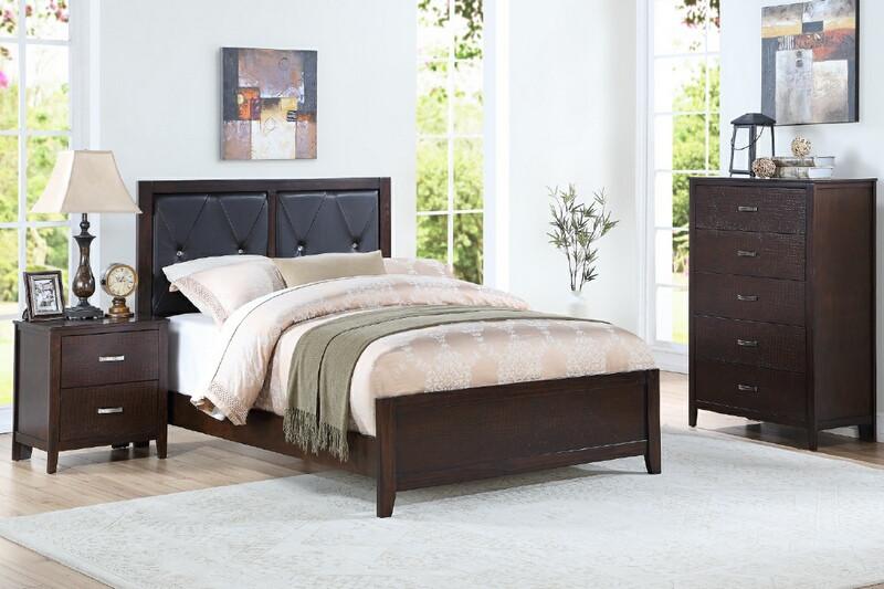 F9425F 4 pc dark cherry finish wood upholstered panel bed full .