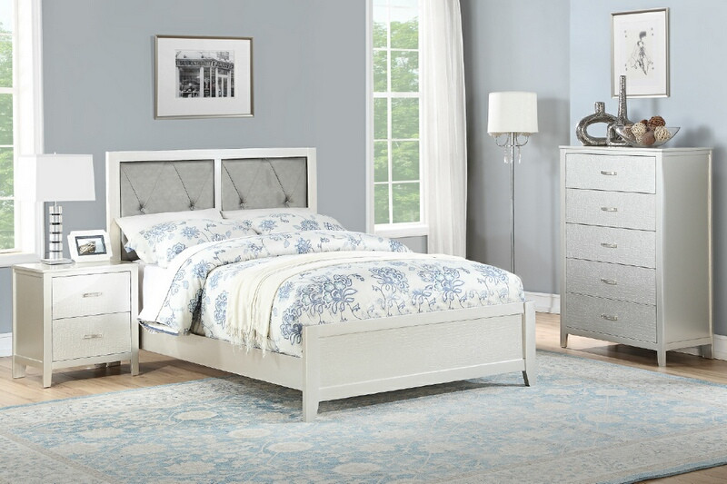 F9426F 3 pc silver finish wood upholstered panel bed full size .