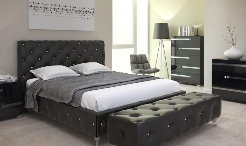 Full Size Bedroom Set 2pcs in Black Contemporary Style At Home USA .