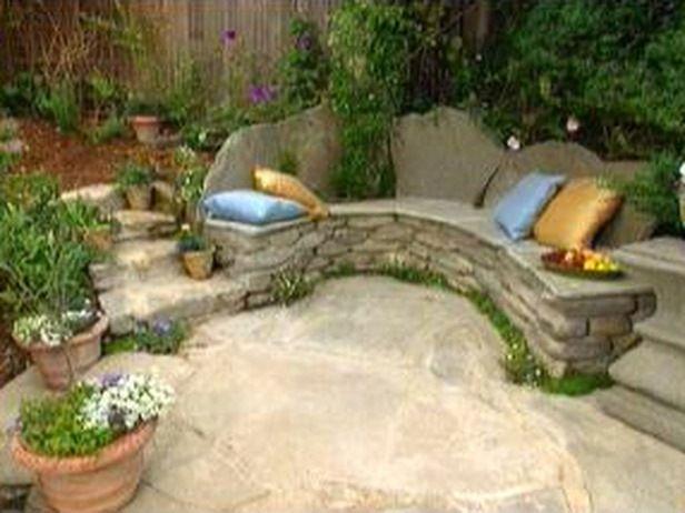 Rustic Wooden - Stone Garden Benches | Stone garden bench, Stone .