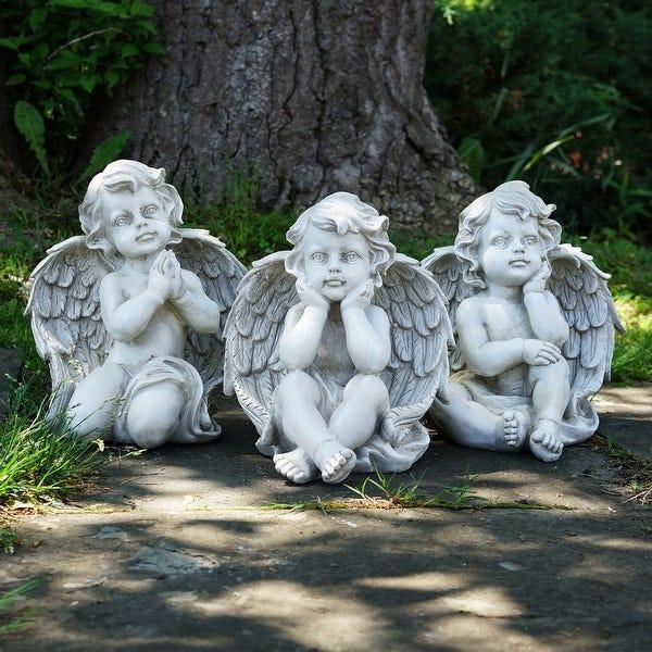 """Shop Set of 3 Sitting Cherub Angel Outdoor Garden Statues 11"""" - On ."""
