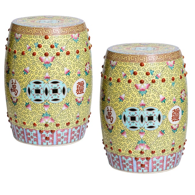 Chinese Famille Rose Garden Stools, A-Pair | Chairi