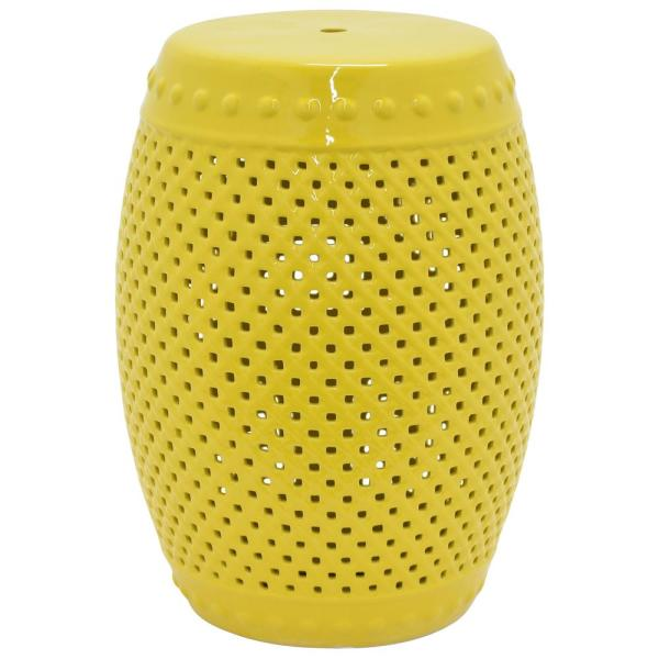 THREE HANDS 18.5 in. Yellow Garden Stool 28779 - The Home Dep