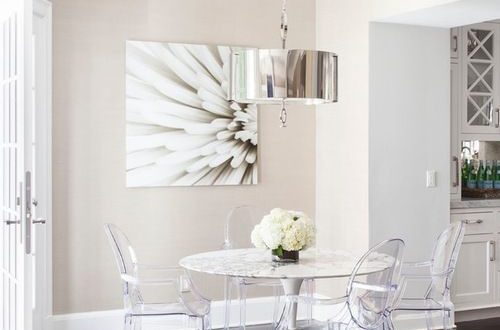 white dining table with ghost chairs - Google Search | Ghost .