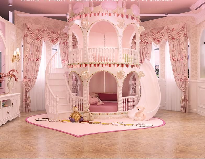 Bedroom Princess Girl Slide Children Bed , Lovely Single Pink .