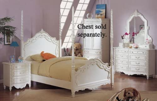 Amazon.com - Acme Furniture Pearl White 4Pc Princess Girls Twin .