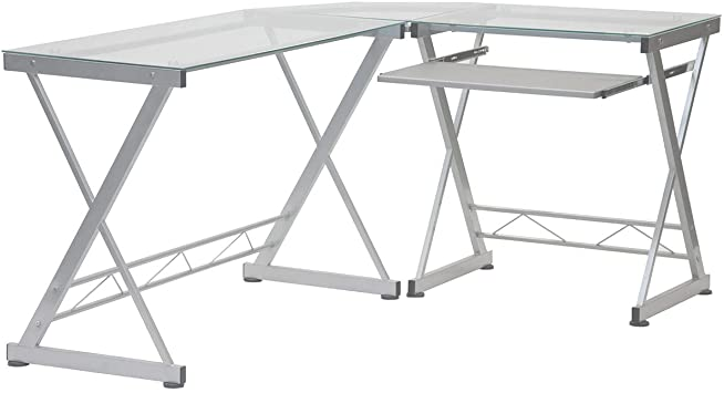 Amazon.com: Tempered Glass L Shape Corner Desk With Pull Out .