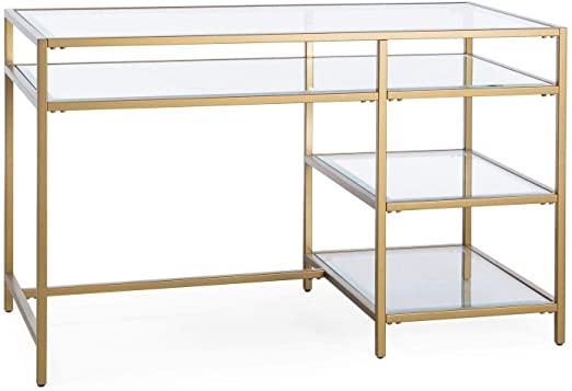 Amazon.com: Gold Finish Contemporary Modern Glam Metal Glass Desk .
