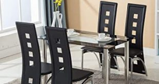 Amazon.com - Mecor Dining Room Table Set, 5 Piece Glass Kitchen .