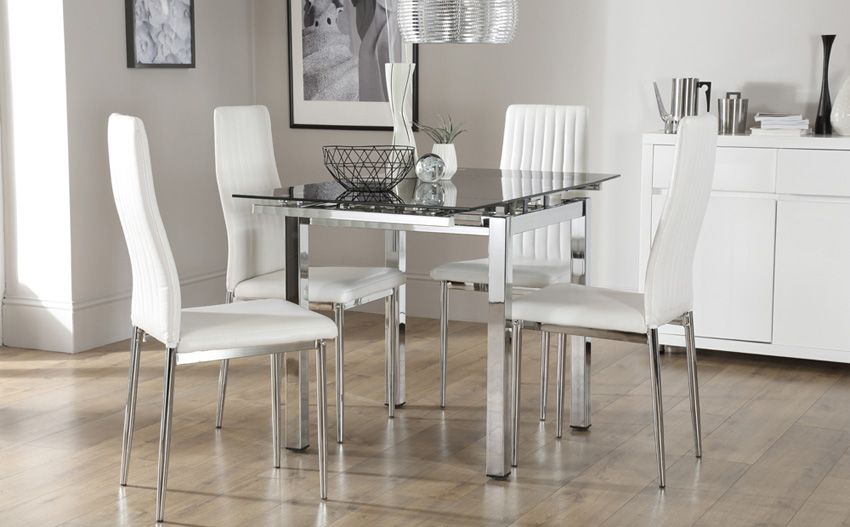 Space Square Chrome & Black Glass Extending Dining Table | Dining .