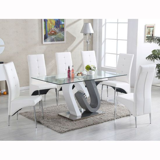 Barcelona Dining Table In Clear Glass Top With Stainless Steel .