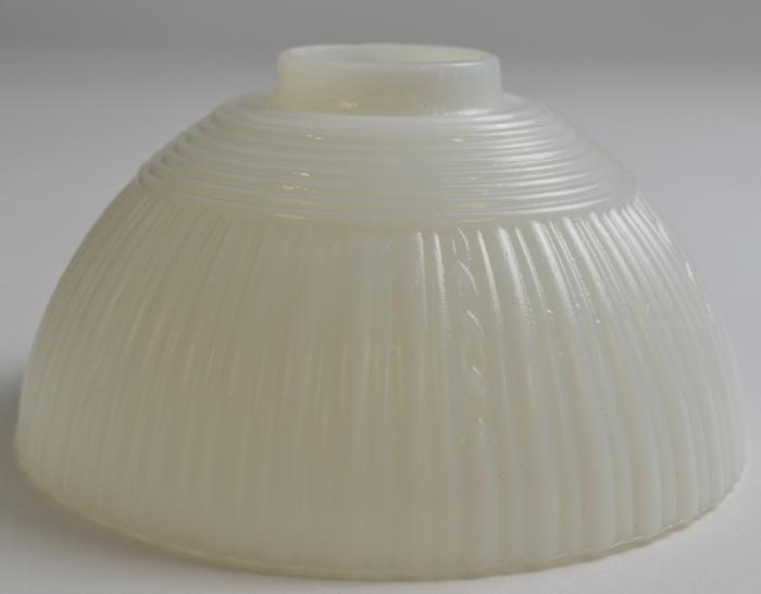 Vintage Milk Glass Ribbed Pattern Table Lamp Shades - Set Of T