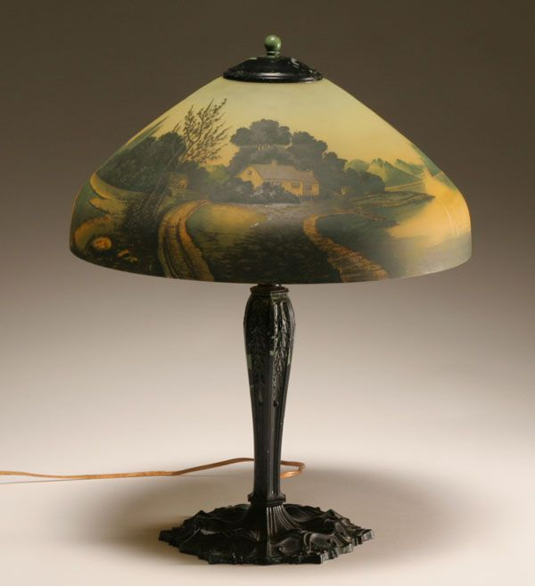 Painted Antique Glass Lamp Shad