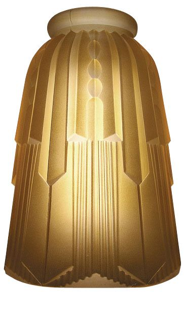 Art Deco Hughes Amber Glass Lamp Shade (2 1/4 Inch Fitter) - Each .