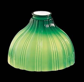 "Lamp Shades Green Glass, Fluted 5 13/16"" high, bottom diameter"