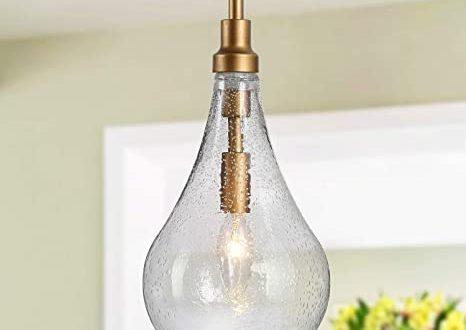 "KSANA Glass Pendant Lighting for Kitchen Island, 6"" Gold Pendant ."