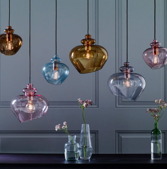 Top 10: coloured glass pendant lights for contemporary spaces .