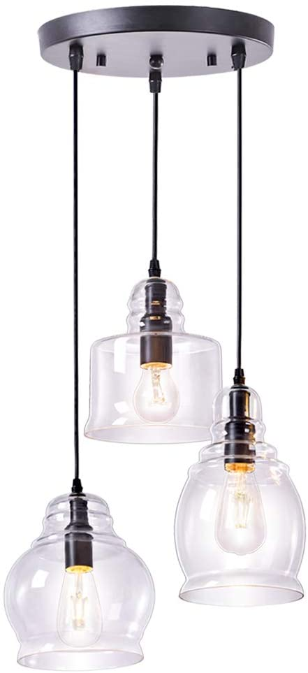 Wellmet Glass Pendant Lighting, Cluster Pendant Lights for Kitchen .