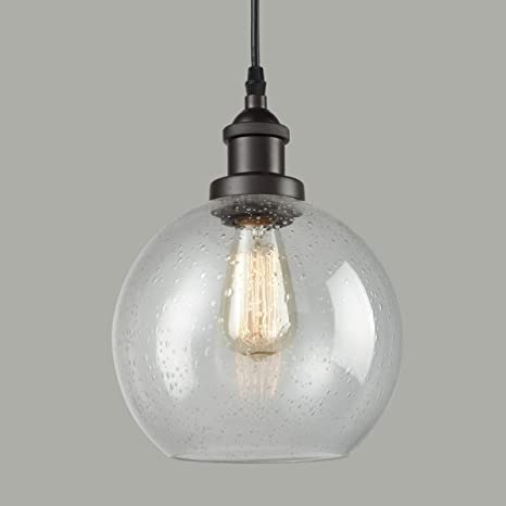 Dazhuan Industrial Vintage Bubble Glass Pendant Light Metal ORB .