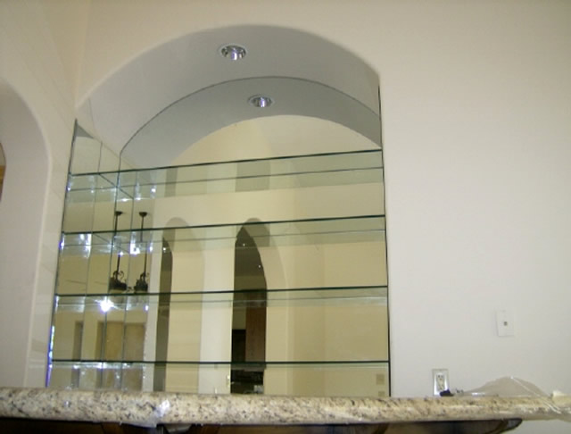 Glass Shelves With Custom Mirror - Mission Bay - Patriot Glass and .