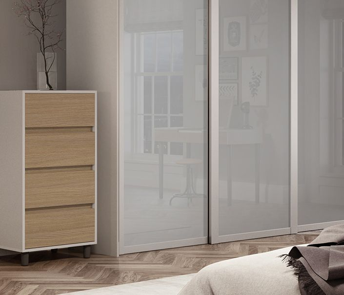 Deluxe Shaker single panel sliding wardrobe doors in Light Grey .